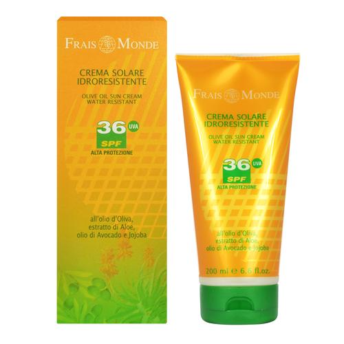 Image of Face And Body Olive Oil Sun Cream SPF36 Water-resistant sun milk 200ml Per Donna
