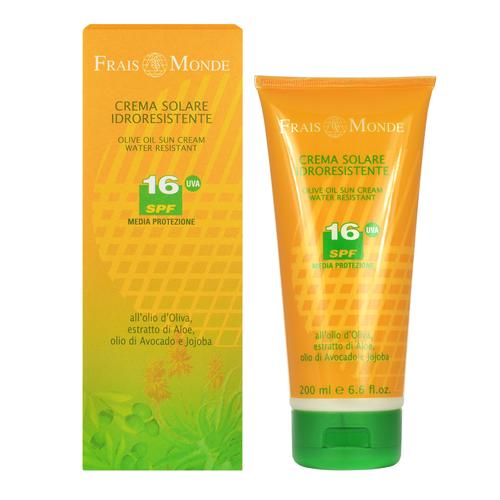 Image of Face And Body Olive Oil Sun Cream SPF16 Water-resistant sun milk 200ml Per Donna